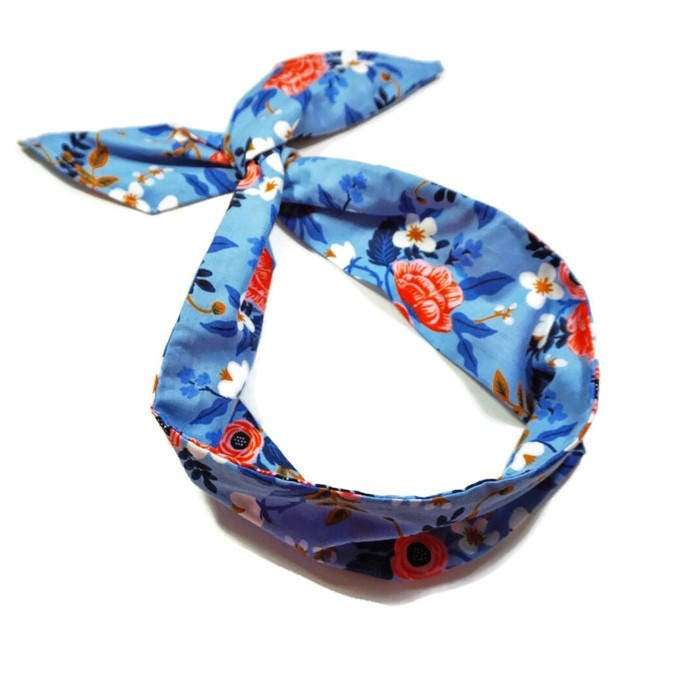 Blue and Peach Floral Wire Headband Rifle Paper Co. Fabric