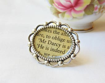Jane Austen Gift Jewelry For Women - Pride and Prejudice Cocktail Ring - Jewellery Mr Darcy Cameo