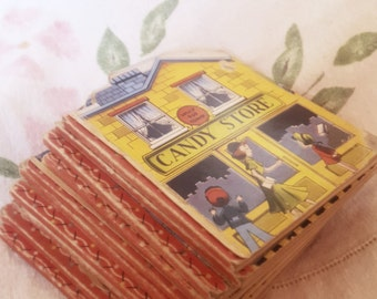 Child's story book set, 1950s Childrens book collection, Lolly pop town shaped  toy book