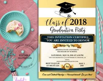 Graduation Party Invitation Template, Editable Graduation Invitation Printable, Middle  High School College University, Instant Download,