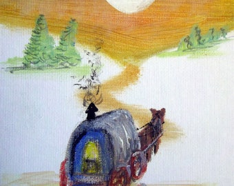 "Caravan, Moving Out into the Sun  - Original Acrylic on Canvas Painting 7"" x 5""."