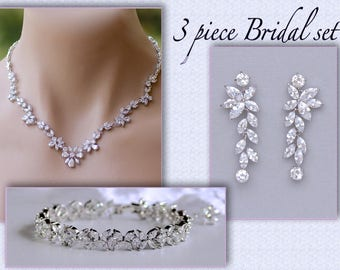 Bridal Jewelry Set, Wedding Jewelry SET, Necklace Bracelet & Earrings Set, Bridal Jewelry Set, Silver Jewlry Set, JAM
