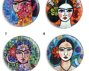 Needle Minder, Frida Cross Stitch, Licensed Art, Heather Galler, Keeper, Size: 38mm Fridge Magnet, Embroidery Minder, Frida Kahlo,(GRHGF1)