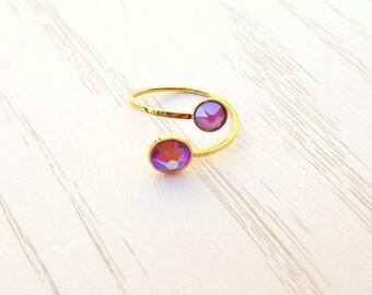Swarovski 2 crystal stainless steel thin ring