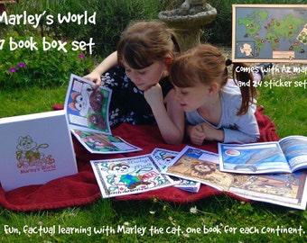 Box Set Of 7 Marley's World Children's Books Seven Continents Animal Factual Map And Sticker Set