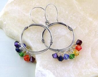 Crystal Chakra Earrings, Rainbow Hoops, Sterling Silver Wire Earrings, Swarovski Crystals, Rainbow Hoops, Dangle Hoop Earrings, Boho, LGBTQ