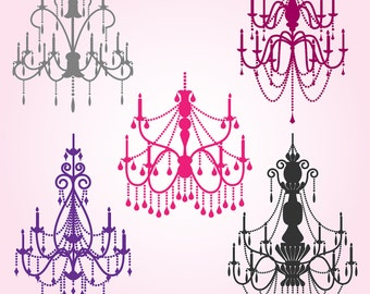 Chandelier Photoshop Brushes 2, Chandelier Silhouettes Photoshop Brushes - Commercial and Personal Use