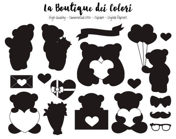Valentines Day Teddy Bear Silhouette Clipart Cute