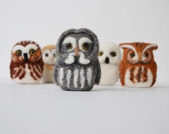 Pocket Owl, Needle Felted Soft Sculpture Bird Fiber Art