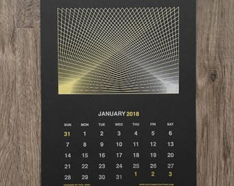 2018 Calendar - Handmade Screen Printed Wall Calendar
