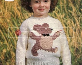 "Child's Motif Sweater 22-26"" DK Sirdar 3398 Vintage Knitting Pattern PDF instant download"