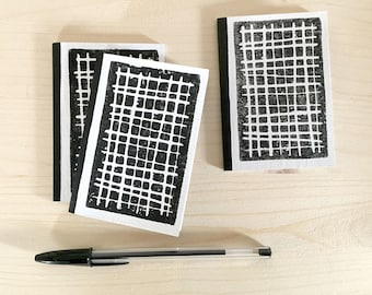 Journal cover printed linocut - grid pattern