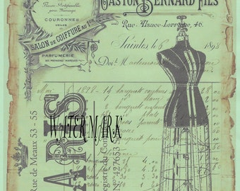 Digital download instant*Paris collage dress form French script* decoupage, collage,sewing.ornaments,button cards