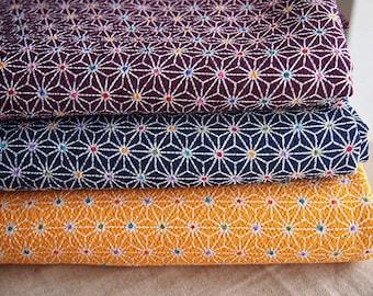 Fabric Japanese chirimen colorful Asanoha 112 * 50 cm purple version
