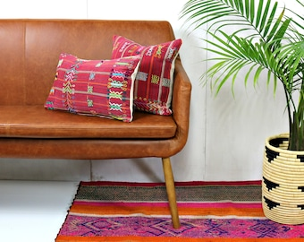 Red Guatemalan Throw Pillow Cover / Hand Embroidered Colotenango Corte Red Stripe Cushion Colorful Artisan Made Ethically Sourced Loom Woven