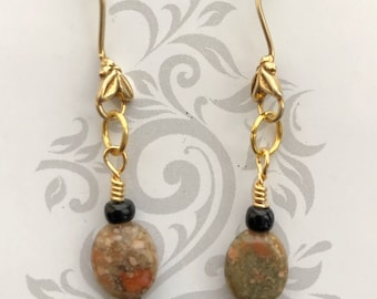 Handmade polished agate stone and glass earrings! Real ornamental gold ear wires.