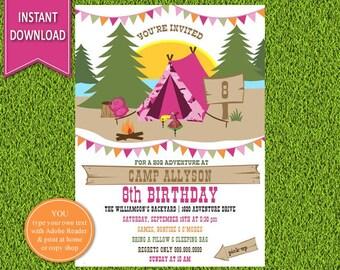 Girl's Camping Birthday Invitation | Camping Invitation, Camping Party, Sleepover Invitation, Camp out Invitation, Girl Camping Invite