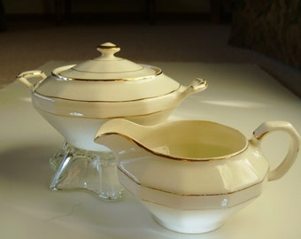 White and Gold Cream and Sugar Vitreous China Set