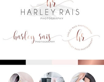 Branding Kit, Branding Package, Premade Logo, Watercolor Logo, Rose Gold Logo, Logo Design, Industrial Logo, Photography Logo, Wedding Logo