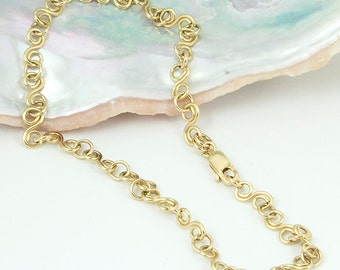 Chain Anklet, Chain Ankle Bracelet, 14k Gold Filled, Handmade Metal Chain, Small S Link Chain