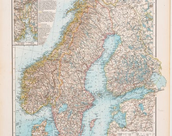 Map of Sweden and Norway  / Color map / Original / German World Atlas 1896 / Big / 22.5 x17.5 in