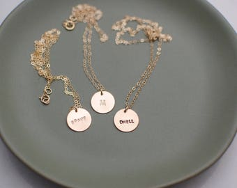 Customized Tiny Round 14 Karat Gold Filled Necklace