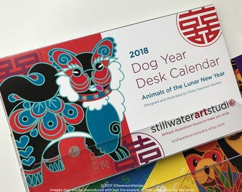 2018 Desk Calendar, Animals of the Lunar New Year, Chinese New Year