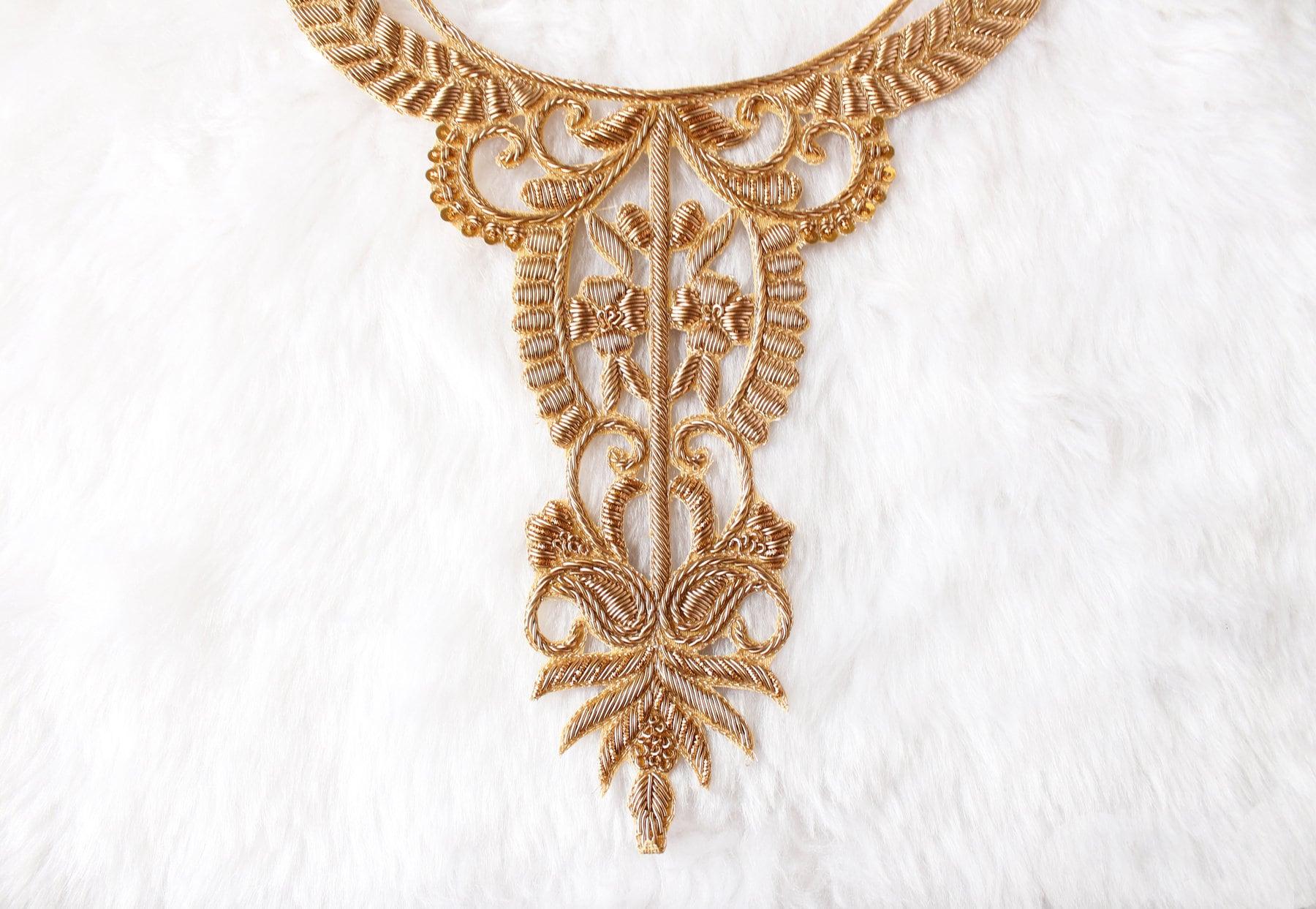 Gold Zardozi Neckline Embellishment Zardozi Kurta Applique