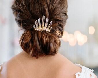 ELDER gold leaf quartz bohemian bridal comb, rose quartz boho wedding headpiece