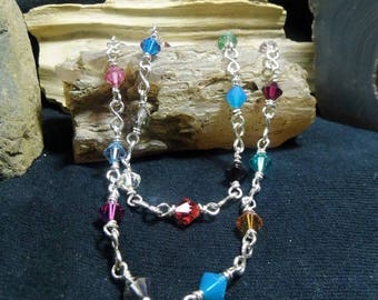 Bright Sparkle Swarovski Crystal Silver Super Long Layer Necklace Rosary Chain