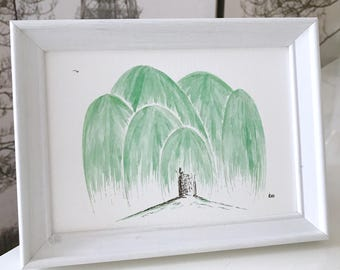 Willow Painting: original and framed willow tree watercolour,  willow painting gift, white wood, willow tree art, can be customised!