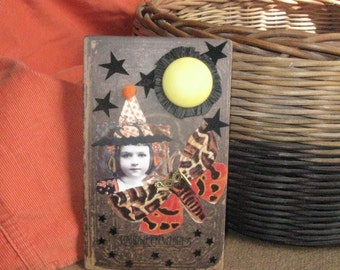Halloween mixed media little witch collage