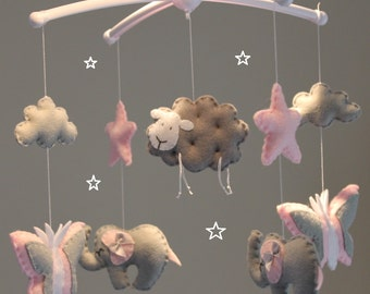 Butterfly elephant sheep baby mobile  pink grey and white musical cot mobile grey pink baby mobile nursery