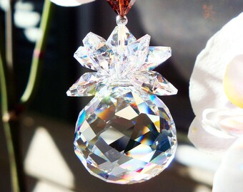 Swarovski Crystal Suncatcher, Brown Feng Shui Decor, Prism Sun Catcher, Hanging Crystals