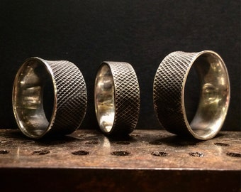 Industrial Textured Wide Ring Band -  Sterling silver.  Handmade