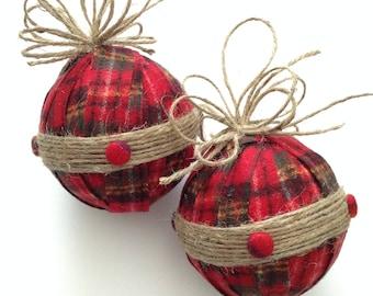 Christmas Ornaments / Xmas Plaid Fabric Ornaments / Flannel and Fuzzy Xmas Ornaments / Christmas Red Plaid and Burlap Handmade Ornaments