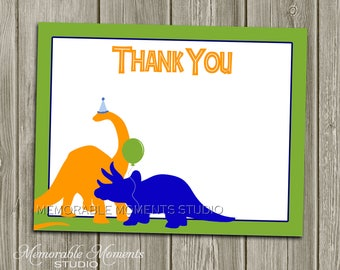 "INSTANT DOWNLOAD - Printable 5.5""x4.25"" flat Thank You Cards - Dinosaurs - Memorable Moments"