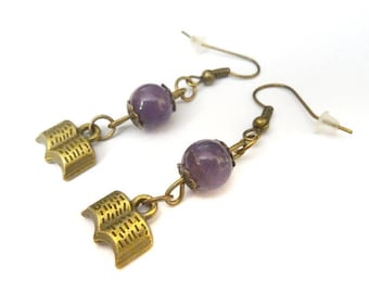 Amethyst books earrings