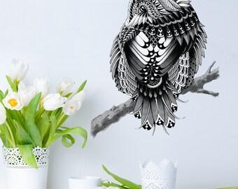 Chickadee Wall Sticker Decal – Ornate Bird Art by BioWorkZ