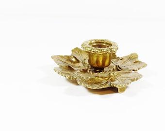 Brass Leaf Candle Holder - Vintage Brass