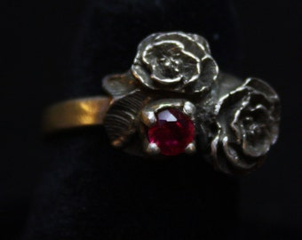Double Rose with Red Stone - Sterling Silver Ring