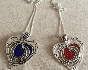 Coloured Heart Necklaces