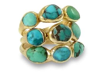 December Birthstone Ring, Raw Turquoise Ring, Turquoise Ring, Stacking Turquoise Rings, Gemstone Ring, Gold Ring, Boho Multistone Ring.