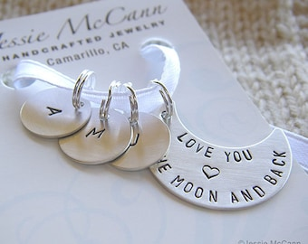 Personalized Knitting Stitch Markers, Hand Stamped Stitch Markers, Removable Markers, Crescent Moon Stitch Markers Gift Set for Mother's Day