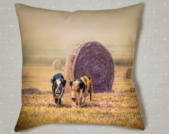 County Pig Pillow, Hay Bales, Farm life, Kune Kune Pigs