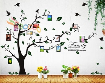 Photo Frame Wall Decal Tree Sticker Family Branches Quote 80 H  sc 1 st  Etsy & Family tree wall decal | Etsy