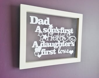Hand cut papercut quote in a beautiful a4 floating frame. 'Dad, A son's first hero'