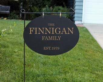 Personalized Wood Garden Flag, Custom Family Yard Sign, Family Name Sign, Wood Hanging Family Sign, Chalk Sign --hngb-oval-finnigan family