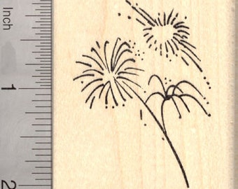 4th of July Fireworks Rubber Stamp, American Independence Day H24906 Wood Mounted