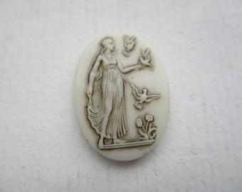 Vintage German Ivory Glass Cab Roman Goddess Diana 25x18mm 1Pc.